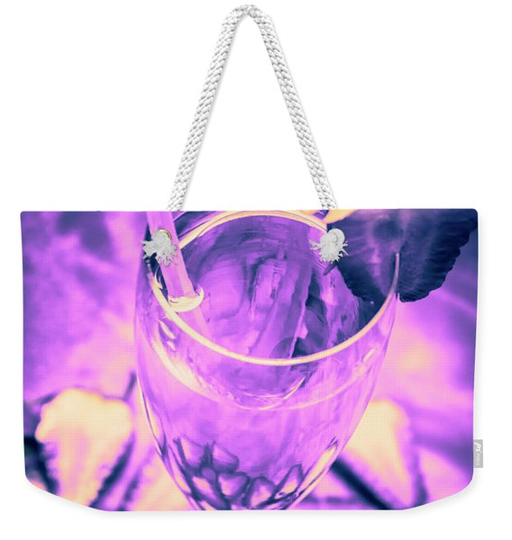 Fancy Champagne With Sliced Strawberries Weekender Tote Bag
