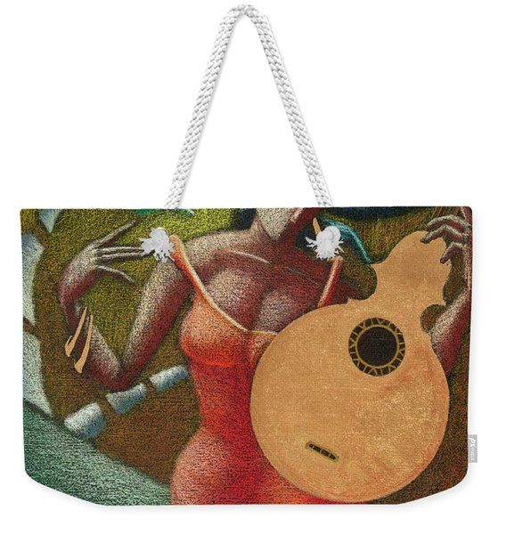 Weekender Tote Bag featuring the painting Fantasia Boricua by Oscar Ortiz