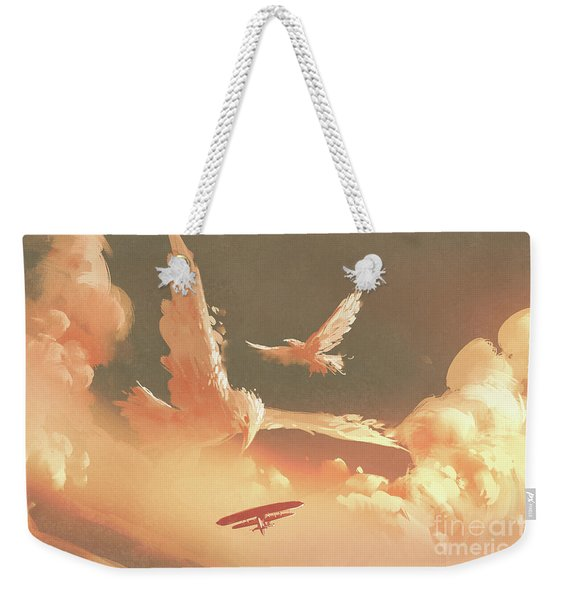 Weekender Tote Bag featuring the painting Fantasy Sky by Tithi Luadthong