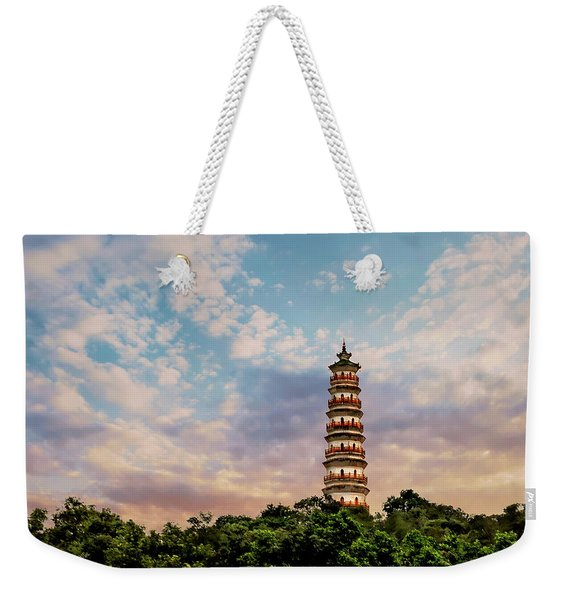 Far Distant Pagoda Weekender Tote Bag