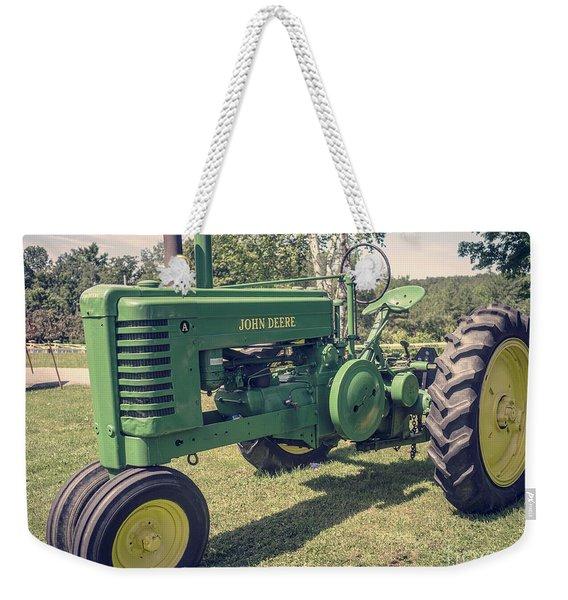 Farm Green Tractor Vintage Style Weekender Tote Bag