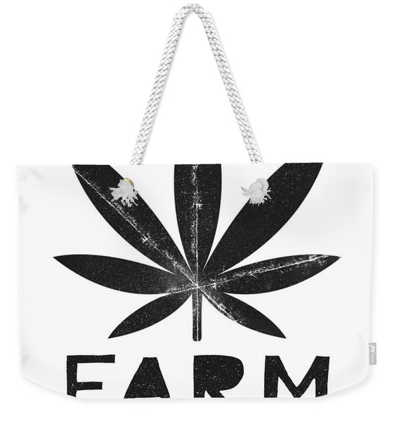 Farm To Couch Black And White- Cannabis Art By Linda Woods Weekender Tote Bag