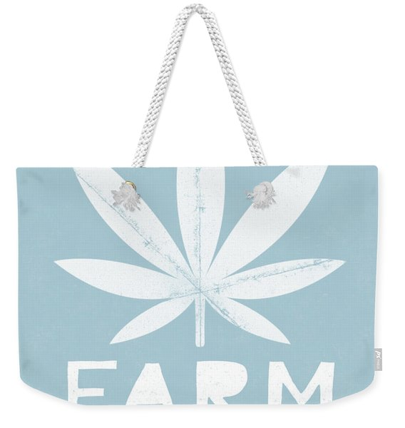 Farm To Couch Blue- Cannabis Art By Linda Woods Weekender Tote Bag