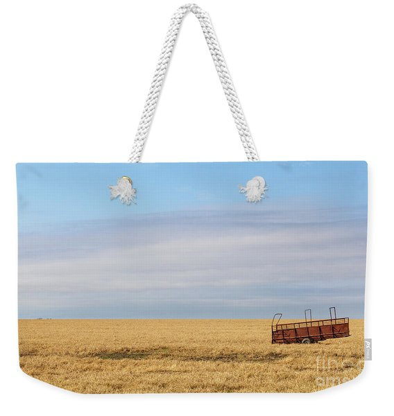 Farm Trailer In The Middle Of Field Weekender Tote Bag