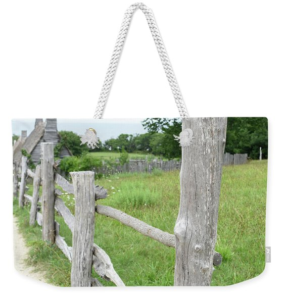 Farm Yard With Wooden Fencing Lining The Pasture Weekender Tote Bag