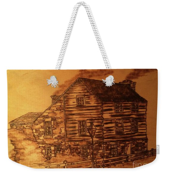 Weekender Tote Bag featuring the pyrography Farmhouse by Denise Tomasura