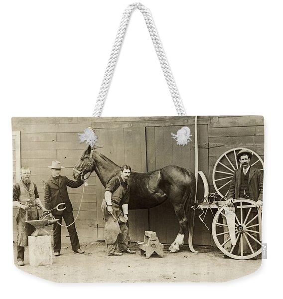 Farrier Shoeing A Horse Weekender Tote Bag