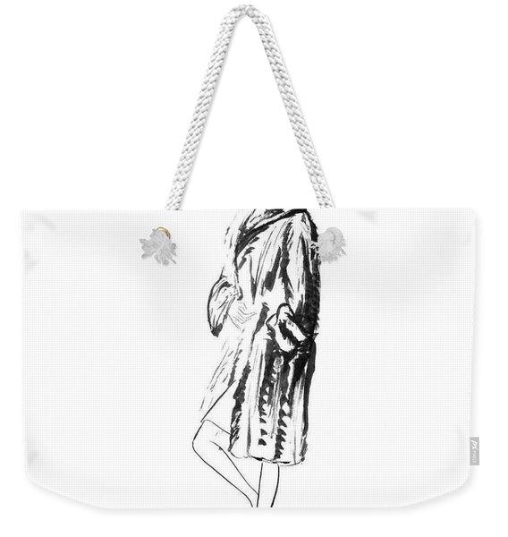 Fashion Girl In Fur Coat Weekender Tote Bag
