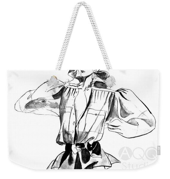 Fashion Girl With Big Sleeves Weekender Tote Bag