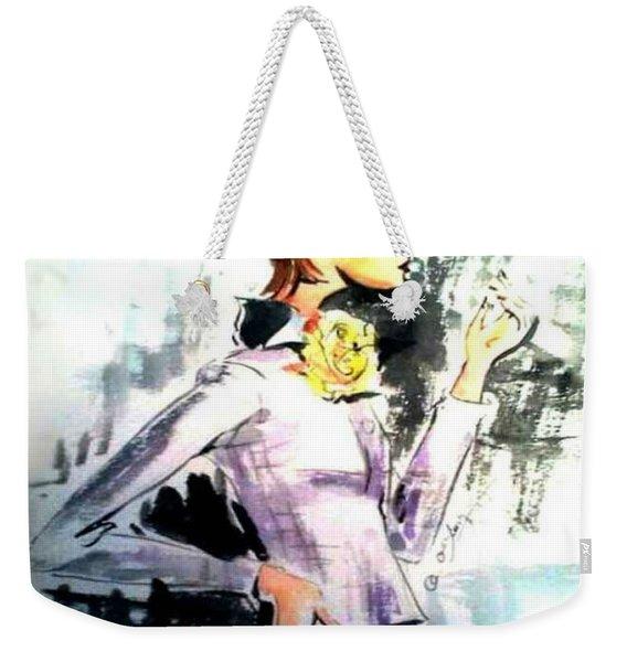 Fashion Woman In Purple Weekender Tote Bag