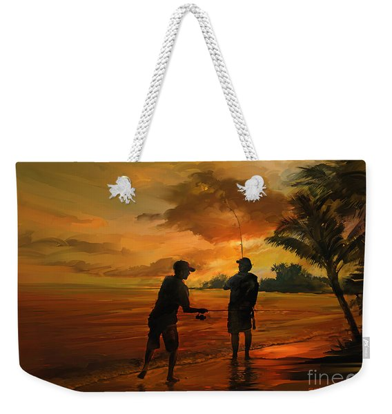 Father And Son Fishing Weekender Tote Bag