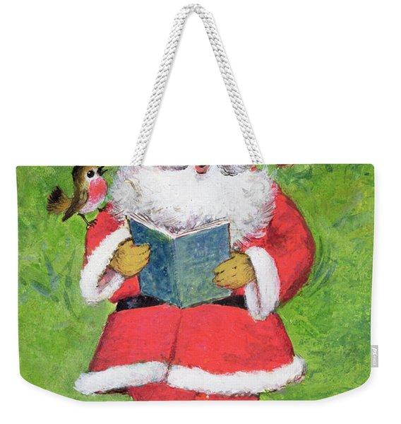 Father Christmas And Robin Chorus Weekender Tote Bag