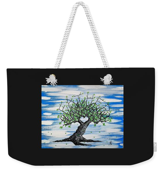 Weekender Tote Bag featuring the drawing Father Love Tree by Aaron Bombalicki