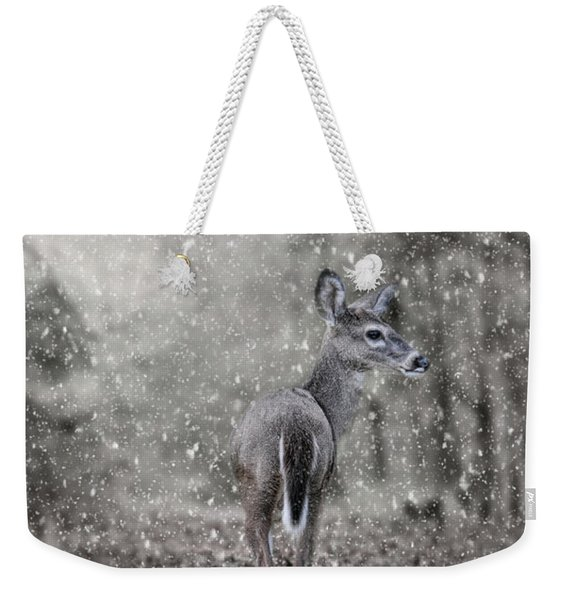 Fawn In A Snow Storm Weekender Tote Bag