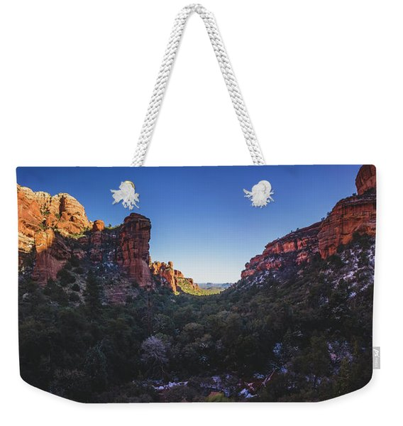 Weekender Tote Bag featuring the photograph Fay Canyon Panorama by Andy Konieczny