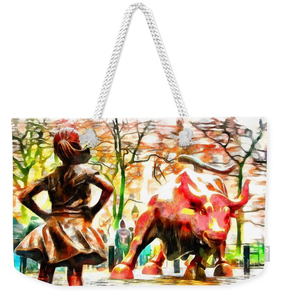 Fearless Girl And Wall Street Bull Statues 10 Weekender Tote Bag