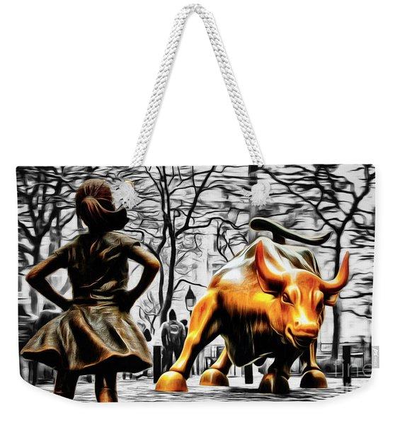 Fearless Girl And Wall Street Bull Statues 15 Weekender Tote Bag