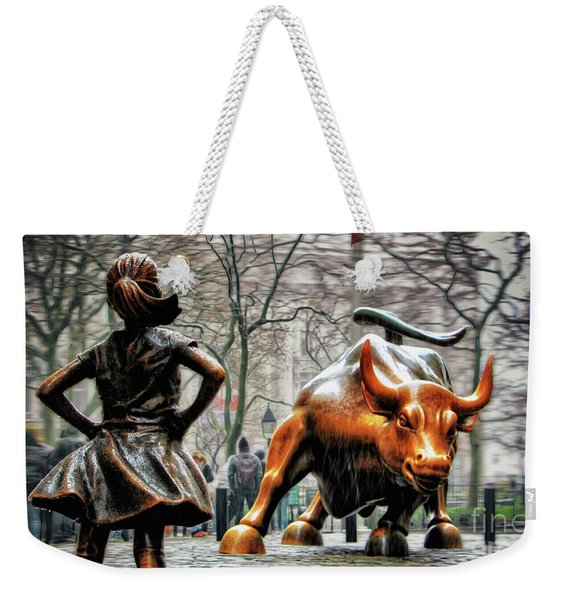 Fearless Girl And Wall Street Bull Statues Weekender Tote Bag