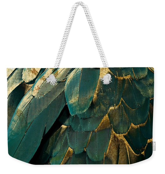 Feather Glitter Teal And Gold Weekender Tote Bag