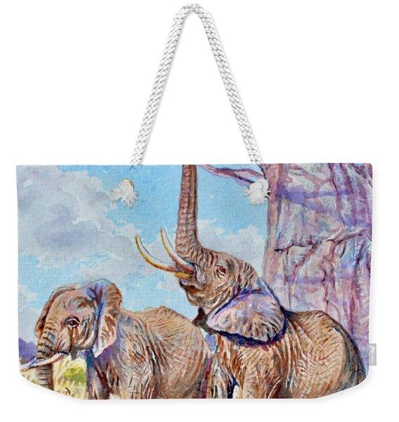 Feeding Elephants Weekender Tote Bag