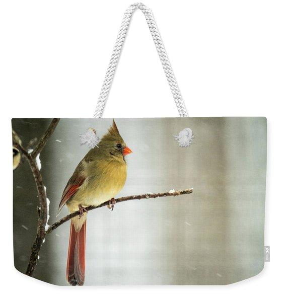 Female Cardinal In Blowing Snow Weekender Tote Bag