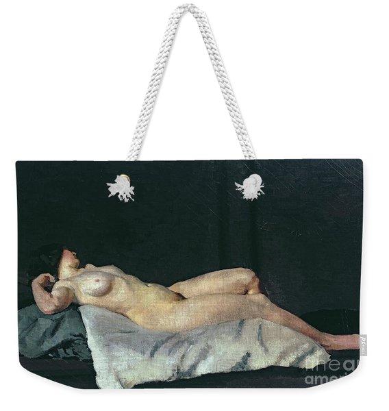 Female Figure Lying On Her Back Weekender Tote Bag