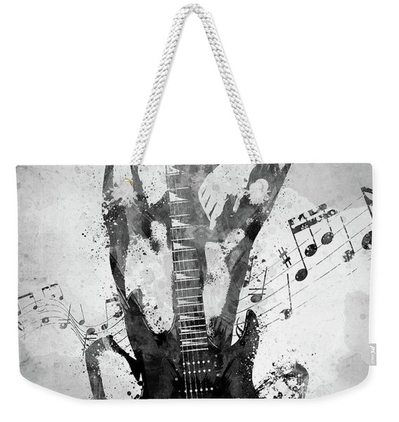 Female Guitarist White And Black Weekender Tote Bag