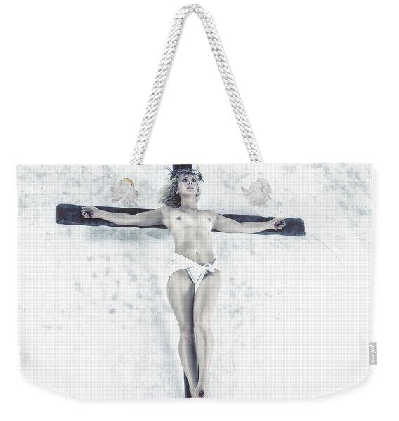 Female Jesus On Crucifix Weekender Tote Bag