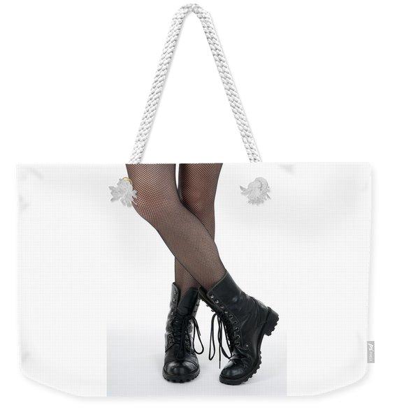 Female Legs In Pantyhose And Black Boots Weekender Tote Bag