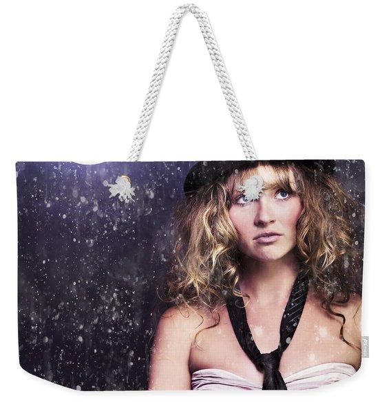 Female Moon Light Night Performer Acting In Rain Weekender Tote Bag