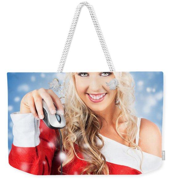 Female Santa Claus Christmas Shopping Online Weekender Tote Bag