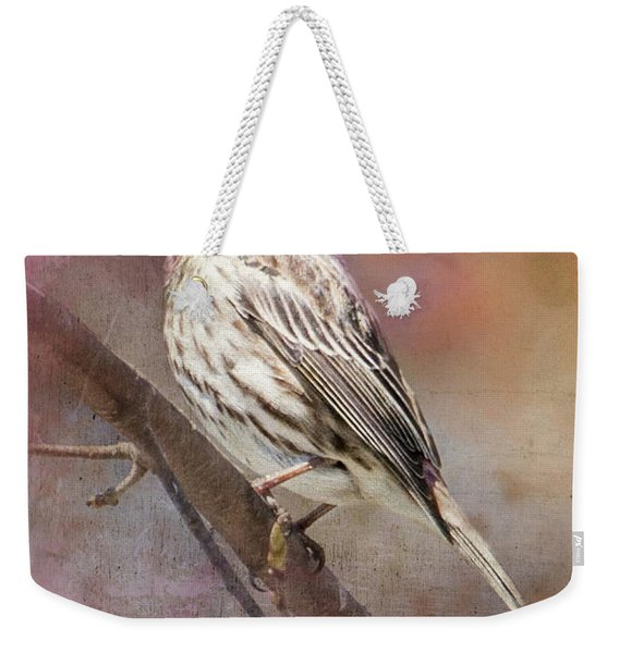 Female Sparrow On Branch Ginkelmier Inspired Weekender Tote Bag