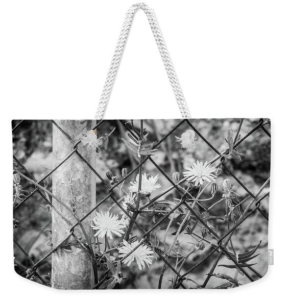 Fence And Flowers. Weekender Tote Bag