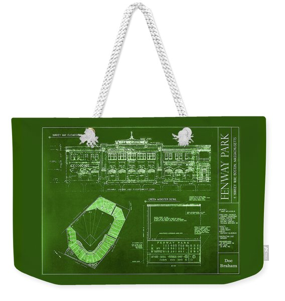 Fenway Park Blueprints Home Of Baseball Team Boston Red Sox Weekender Tote Bag