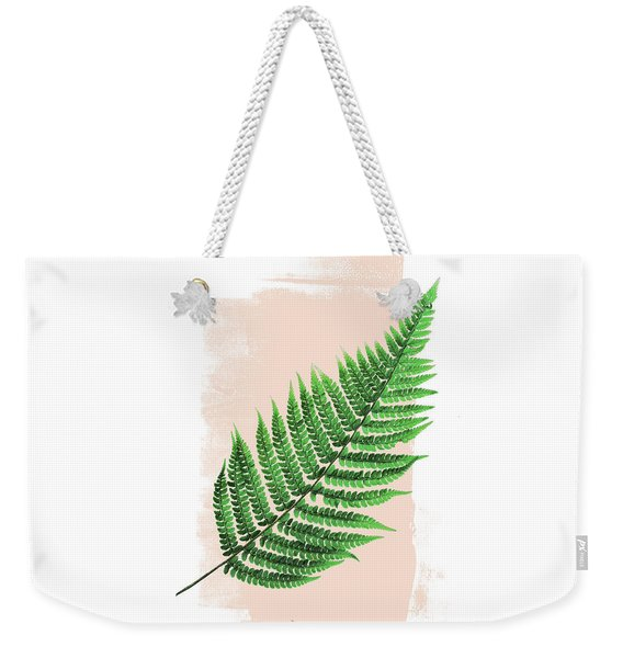 Fern Leaf On Pink Weekender Tote Bag