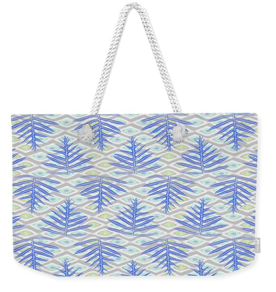 Ferns On Diamonds Indigo Gray Weekender Tote Bag