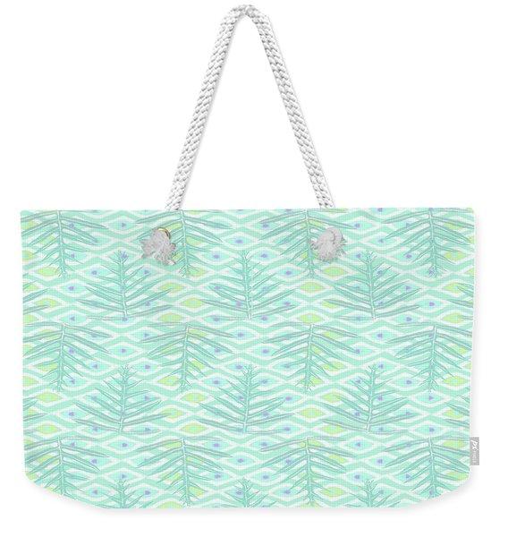 Ferns On Diamonds Pale Teal Weekender Tote Bag