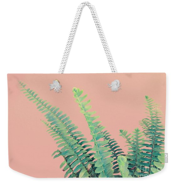 Ferns On Pink Weekender Tote Bag