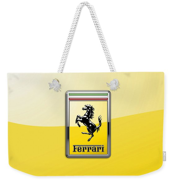 Ferrari 3d Badge- Hood Ornament On Yellow Weekender Tote Bag