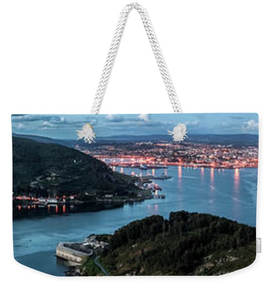 Ferrol's Estuary Panorama From La Bailadora Galicia Spain Weekender Tote Bag