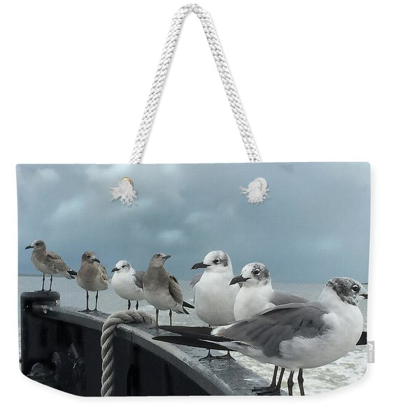 Weekender Tote Bag featuring the digital art Ferry Passengers by Gina Harrison