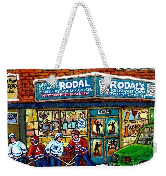Fiddler On The Roof Painting Canadian Art Jewish Montreal Memories Rodal Gift Shop Van Horne Hockey  Weekender Tote Bag
