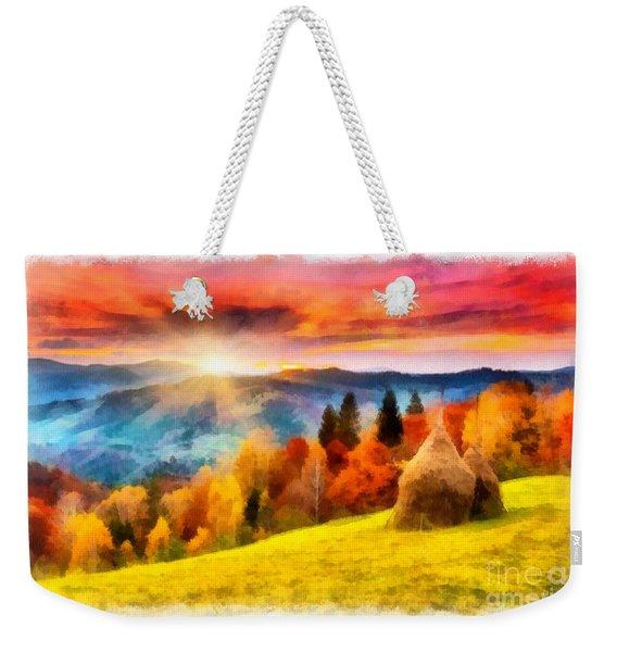 Field Of Autumn Haze Painting Weekender Tote Bag