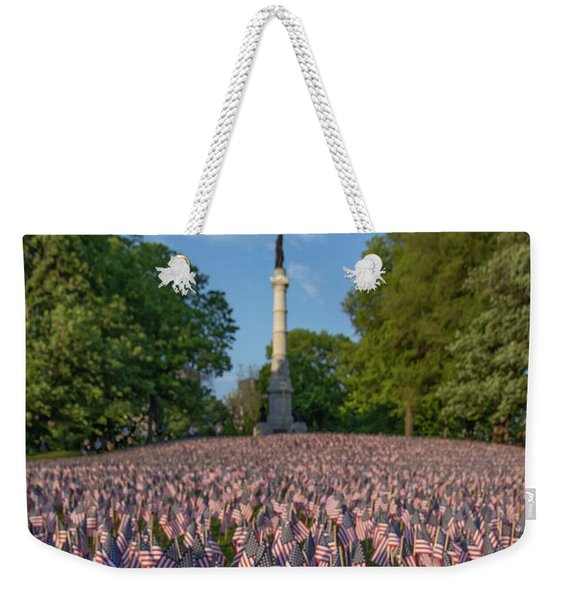Field Of Flags At Boston's Soldiers And Sailors Monument Weekender Tote Bag