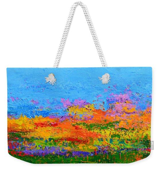 Abstract Field Of Wildflowers, Modern Art Palette Knife Weekender Tote Bag