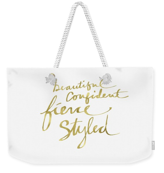 Fierce And Styled Gold- Art By Linda Woods Weekender Tote Bag