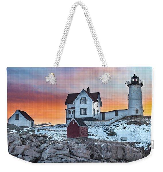 Fiery Sunrise At Cape Neddick Lighthouse Weekender Tote Bag