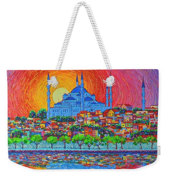 Fiery Sunset Over Blue Mosque Hagia Sophia In Istanbul Turkey Weekender Tote Bag