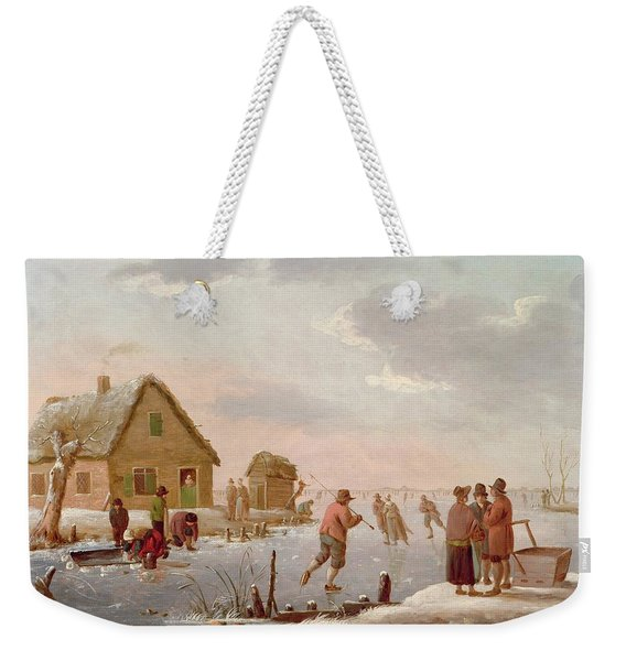 Figures Skating In A Winter Landscape Weekender Tote Bag