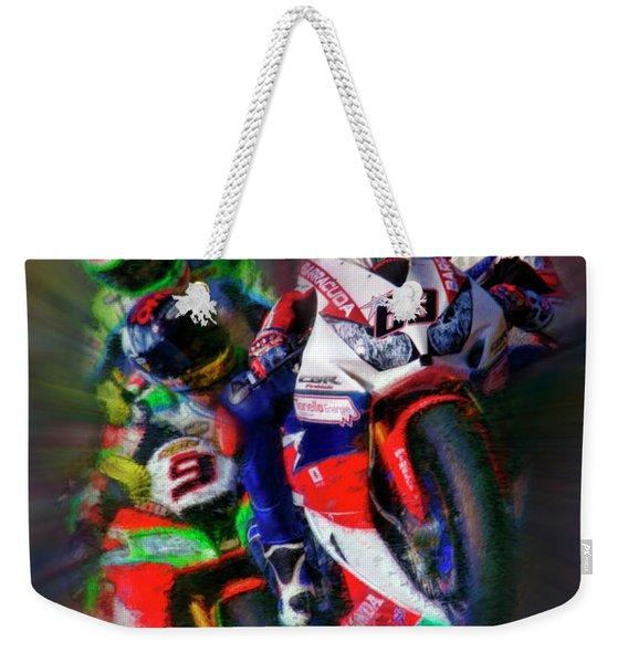 Fim Superbike Nicky Hayden Leads The Way Weekender Tote Bag